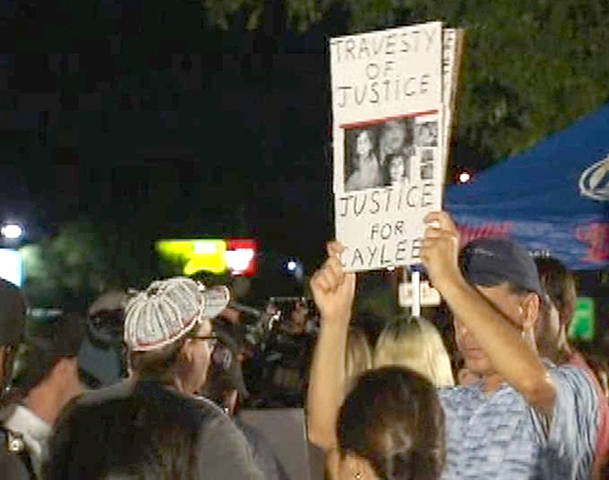 Some of the hundreds of angry protesters wailing for Casey Anthony to leave. When Anthony exited the jail house building, people tried to block her car from leaving the parking lot, and new helicopters reported several vehicles following Anthony's car at high rate of speed. Anthony arrived at her destination safely (FOX-Orlando News/Pool Video)